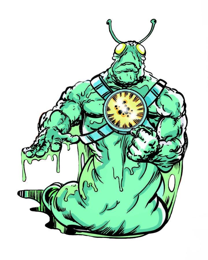 Comic book character slug alien. Original comic book character slug alien vector illustration
