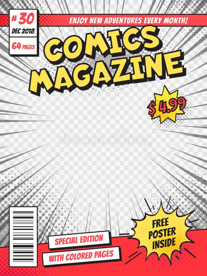 Comic book cover. Comics books title page, funny superhero magazine isolated vector template royalty free illustration