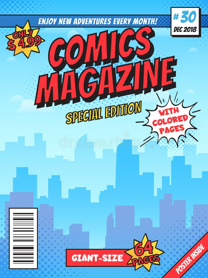 Comic book cover page. City superhero empty comics magazine covers layout, town buildings and vintage comic books vector stock illustration