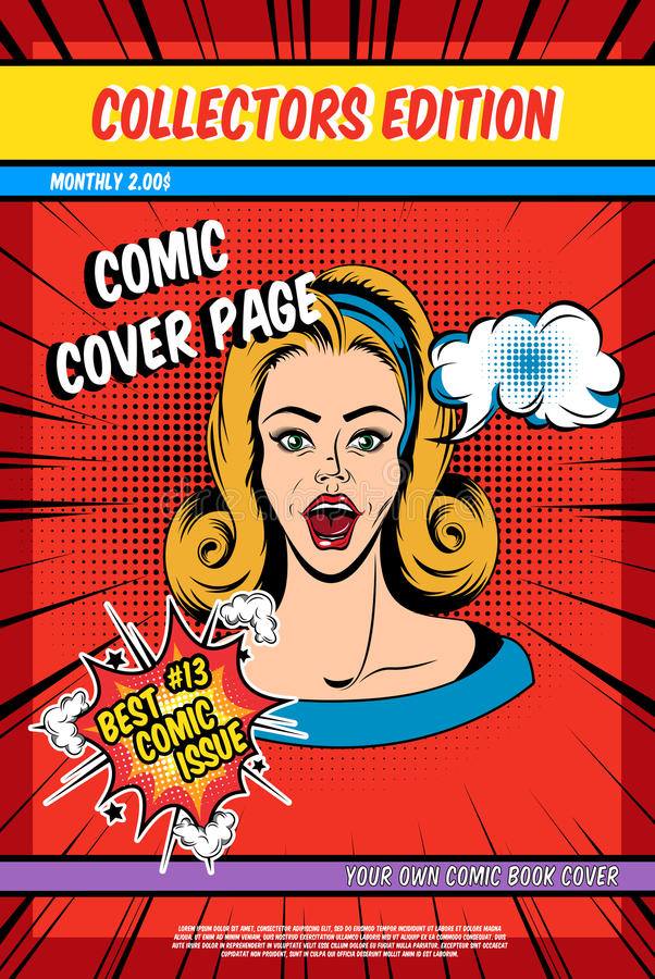Book Cover Page : Comic book cover page stock vector illustration of effect