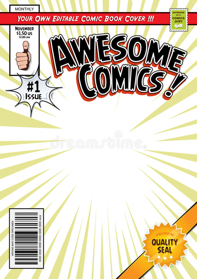 Free Comic Book Cover Template Royalty Free Stock Photo - 71372255