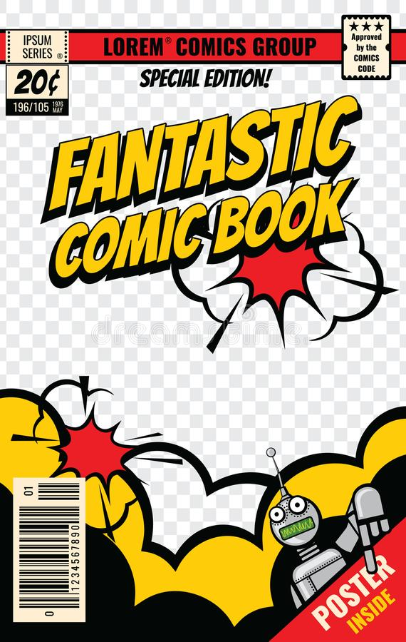 Comic book cover vector template stock illustration