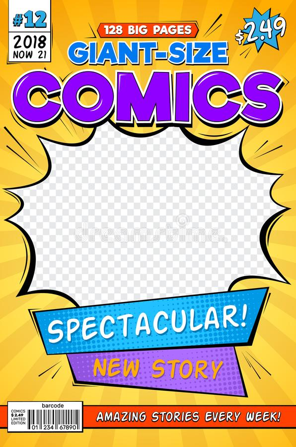 Free Comic Book Cover. Vintage Comics Magazine Layout. Cartoon Title Page Vector Template Royalty Free Stock Photos - 131375848