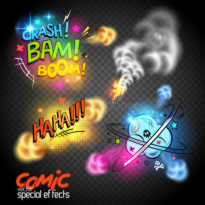 Comic Book Effects. Glowing retro comic book symbols and expressions, vector illustration royalty free illustration