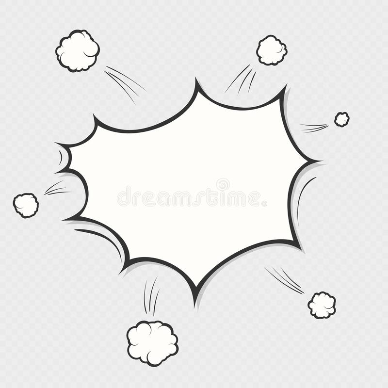 Comic book explosion boom on transparent background. Cartoon speech bubble cloud symbol. Pop art object. EPS 10 vector illustration