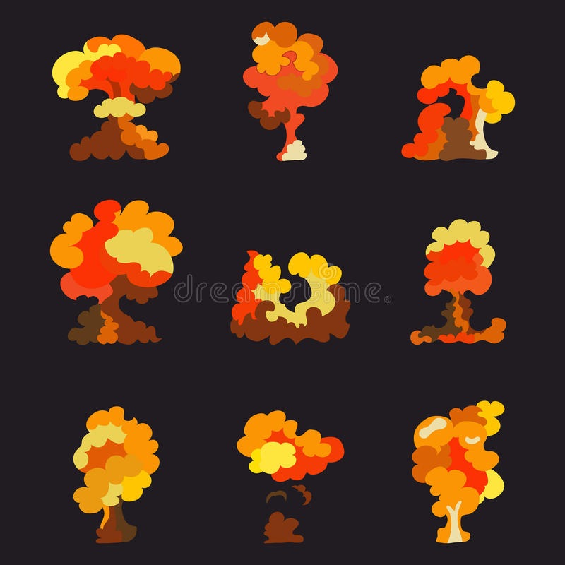 Comic book explosion effects with smoke, cartoon boom. Animation fire for game. Vector illustration vector illustration