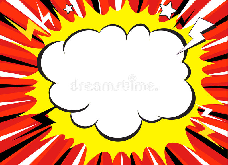 Comic book explosion superhero pop art style radial lines background. Manga or anime speed frame royalty free stock image