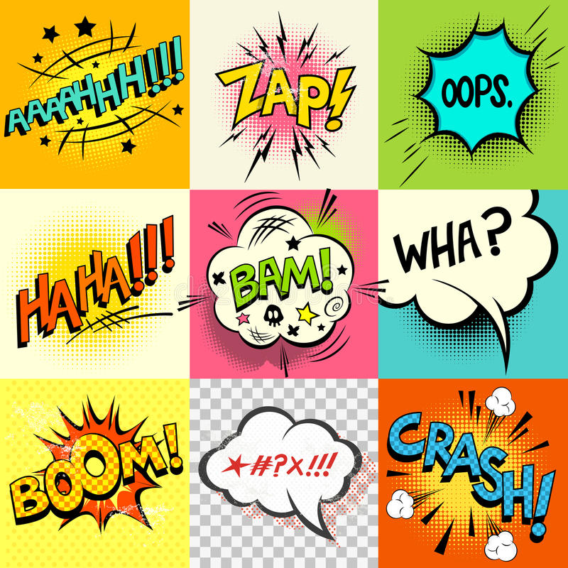 Comic Book Expressions!. A set of comic book speech bubbles and expression words. Vector illustration stock illustration