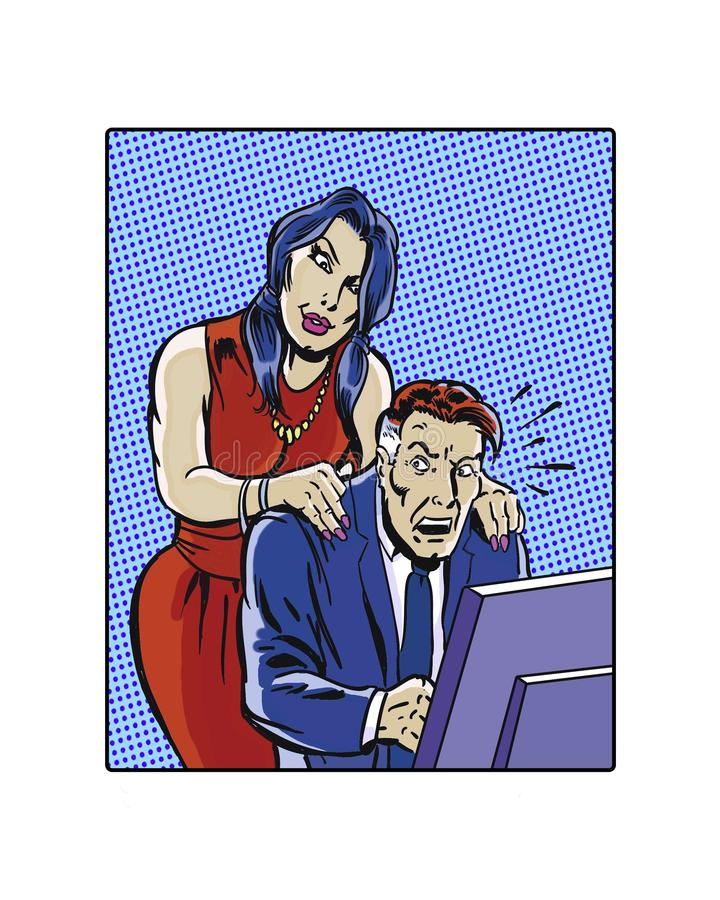 Comic book illustrated female workplace sexual harassment. Illustrated female workplace sexual harassment hands on shoulders vector illustration