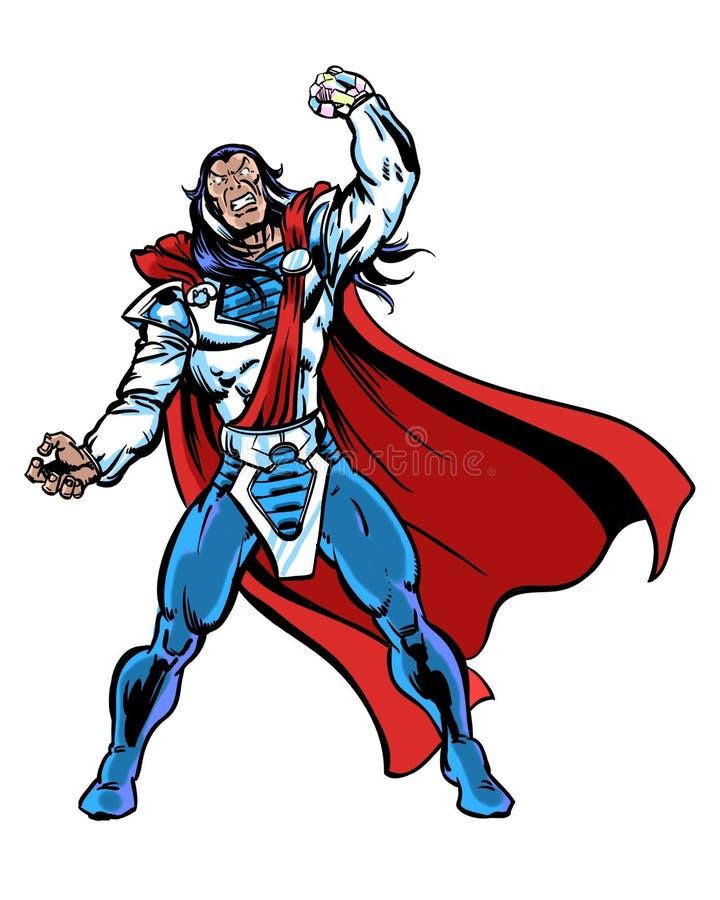 Comic book illustrated mutant leader super character. Mutant leader super character with a crystal hand vector illustration