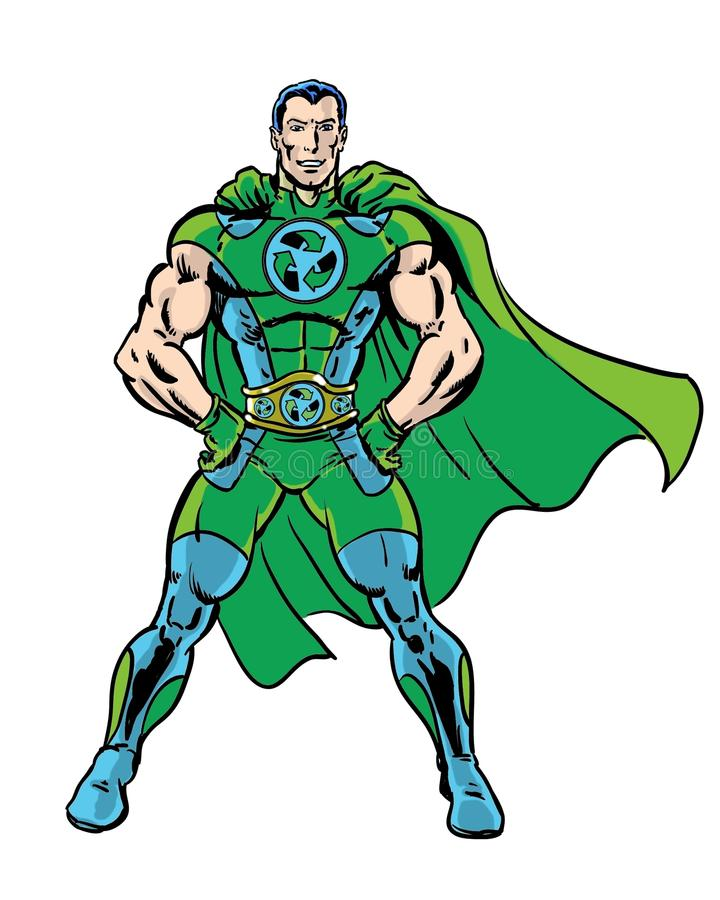 Comic book illustrated recycle green superhero posing with white background. Powerful super recycler comic book character royalty free illustration