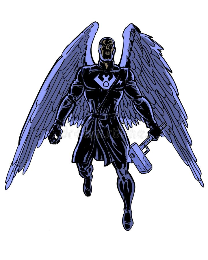 Comic book illustrated shadow raven character stock illustration