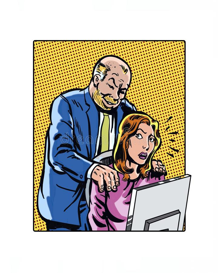 Comic book illustrated workplace sexual harassment hands. Illustrated workplace sexual harassment hands on shoulder vector illustration