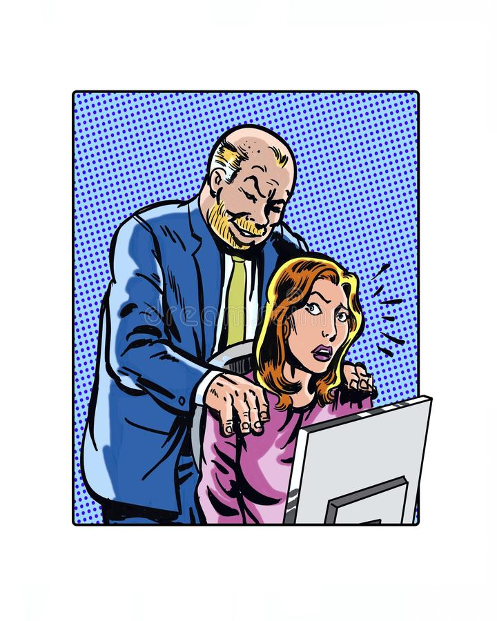 Comic book illustrated workplace sexual harassment manager. Illustrated workplace sexual harassment manager hands on shoulder royalty free illustration
