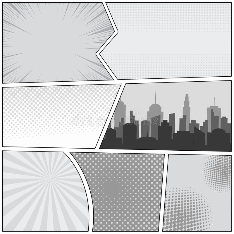 Comic book page template vector illustration