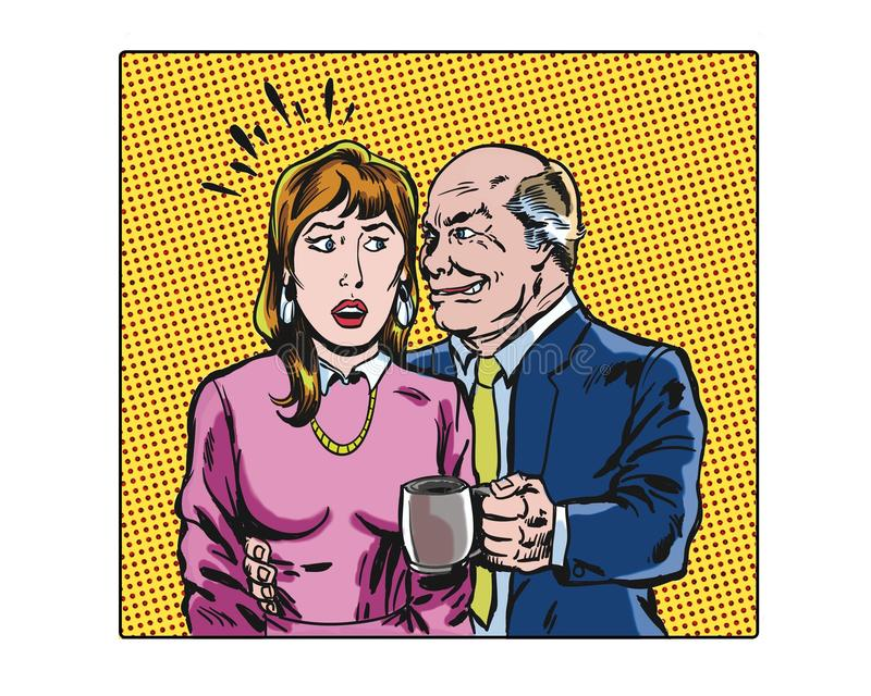 Comic book pop art illustrated workplace sexual harassment characters. Pop art illustrated workplace sexual harassment characters stock illustration