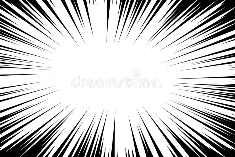 Comic book radial lines background. Manga speed frame. Explosion vector illustration. Star burst or sun rays abstract backdrop royalty free illustration