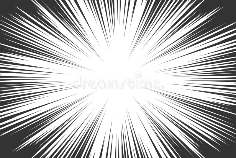 Comic book radial lines background. Manga speed frame. Explosion vector illustration. Star burst or sun rays abstract backdrop.  stock illustration