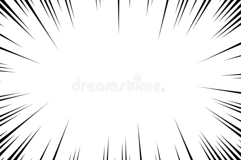 Comic book radial lines background. Manga speed frame. Explosion vector illustration. Star burst or sun rays abstract backdrop.  stock illustration