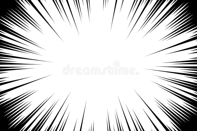 Comic book radial lines background. Manga speed frame. Explosion vector illustration. Star burst or sun rays abstract backdrop.  royalty free illustration