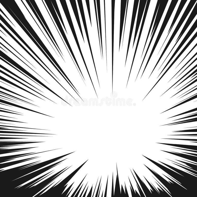 Comic book radial speed lines. Manga speed frame. Cartoon explosion background Superhero action. Vector illustration.  stock illustration
