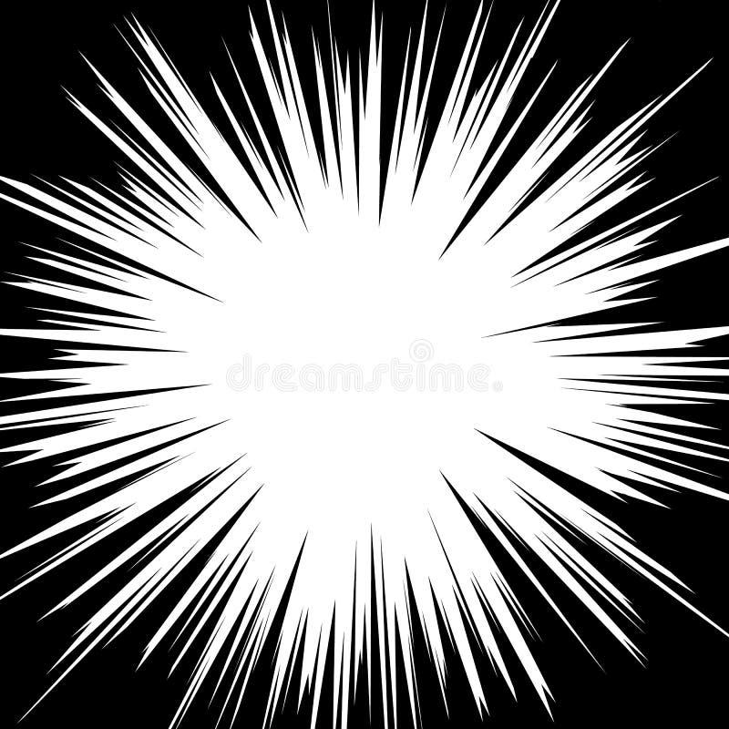 Comic book radial speed lines. Manga speed frame. Cartoon motion background. Superhero action. Monochrome vector illustration. Isolated on white background royalty free illustration