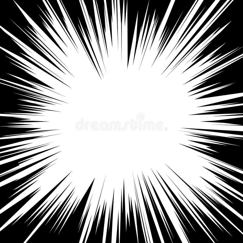 Comic book radial speed lines template. Manga speed frame. Cartoon explosion background Superhero action. Vector illustration.  vector illustration