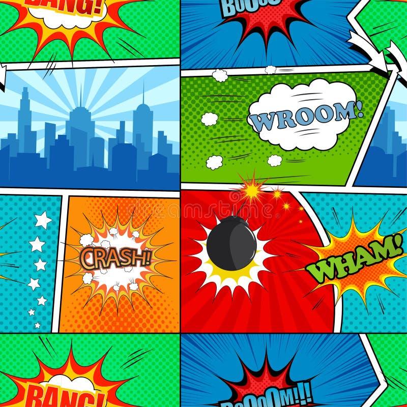 Comic book seamless pattern stock illustration