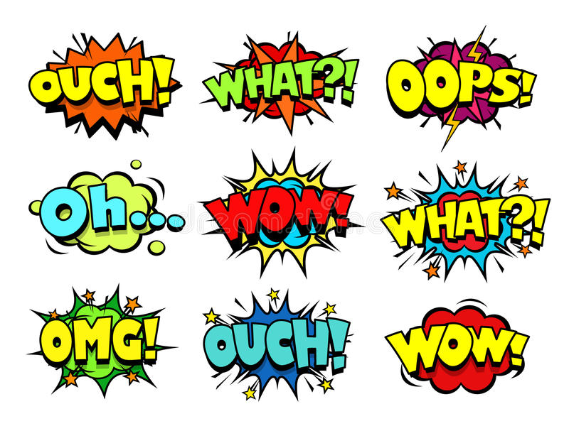 Crash Comic Book Sound Effect Speech Doodle Bubbles Stock