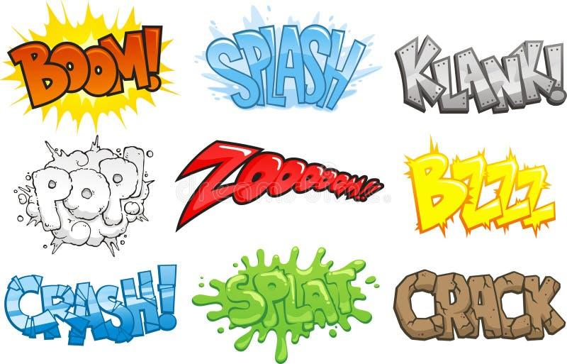 Comic book sounds effects Onomatopoeia cartoon set stock illustration