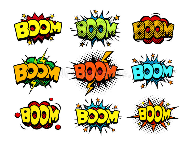 Comic book speech bubbles with halftone effect, crash and blast sounds vector illustration
