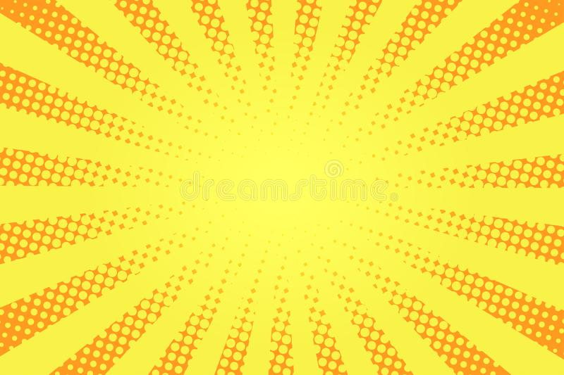 Comic book style background. Halftone texture, vintage dotted background in pop art style. Retro sun rays, sunbeams vector illustration