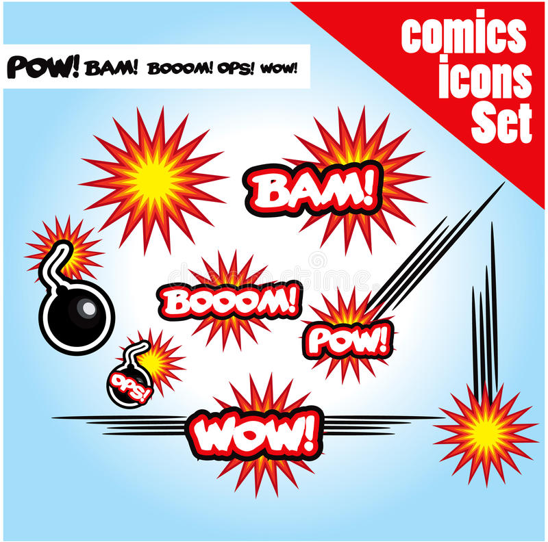Comic Book Style Bombs Boom Bam Wow Pow Ops  Explode Royalty Free Stock Photos
