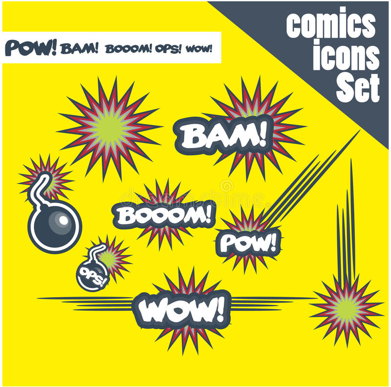 Download Comic Book Style Bombs Boom Bam Wow Pow Ops  Explode Stock Illustration - Illustration: 29244235