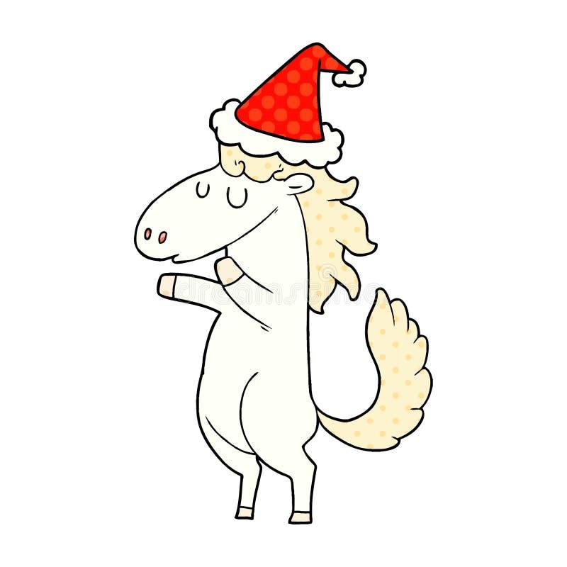 Christmas Horse Drawing.Horse Animals Cute Cartoon Comic Book Style Dots Drawing