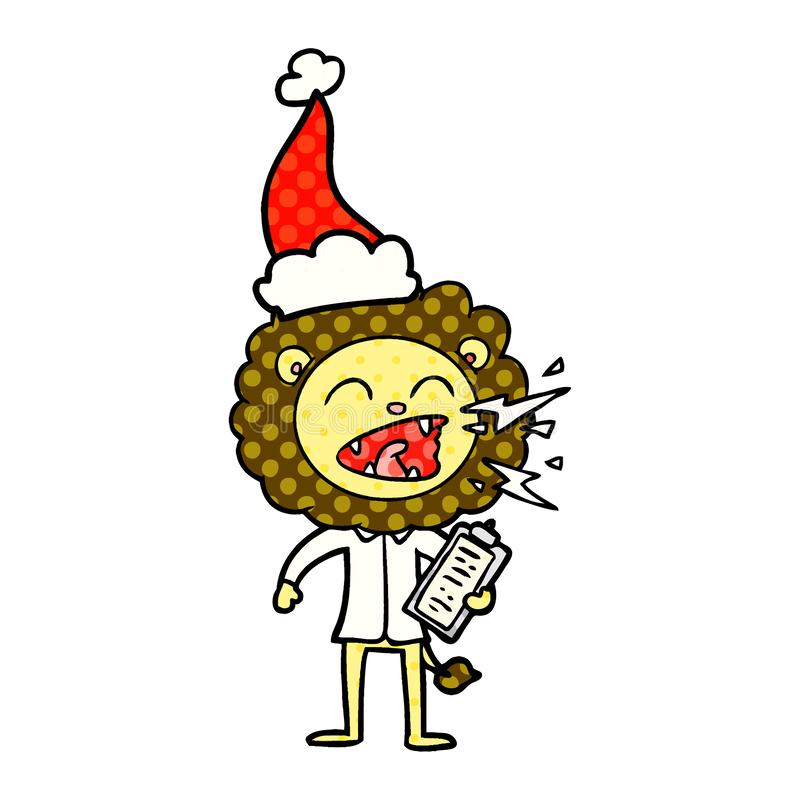 comic book style illustration of a roaring lion doctor wearing santa hat royalty free illustration