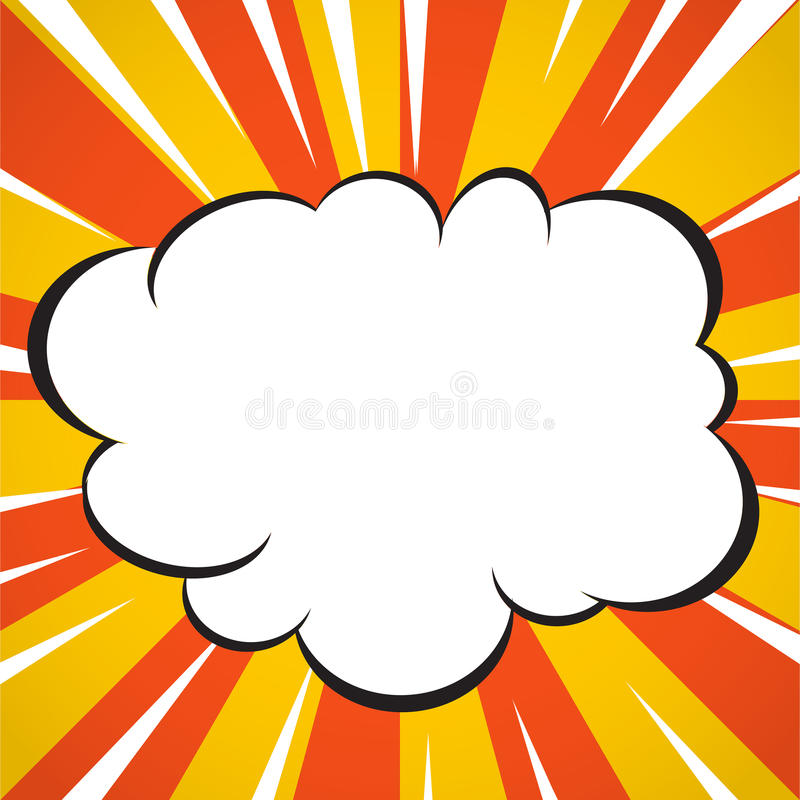 comic book superhero explosion cloud pop art style yellow and white radial lines background. Black Bedroom Furniture Sets. Home Design Ideas