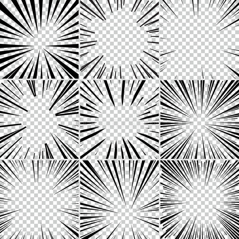 Comic book superhero pop art style black and white radial lines background. Manga or anime speed frame. Big collection of Explosion stock illustration