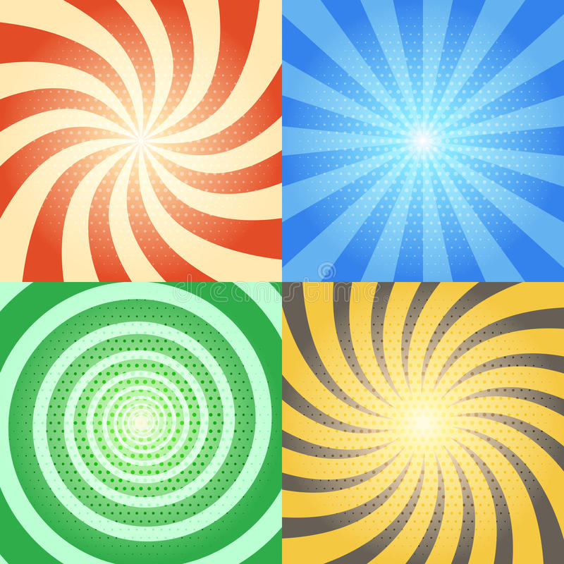 Comic book vector backgrounds set. Retro sunburst and spiral effects with halftone pattern vector illustration