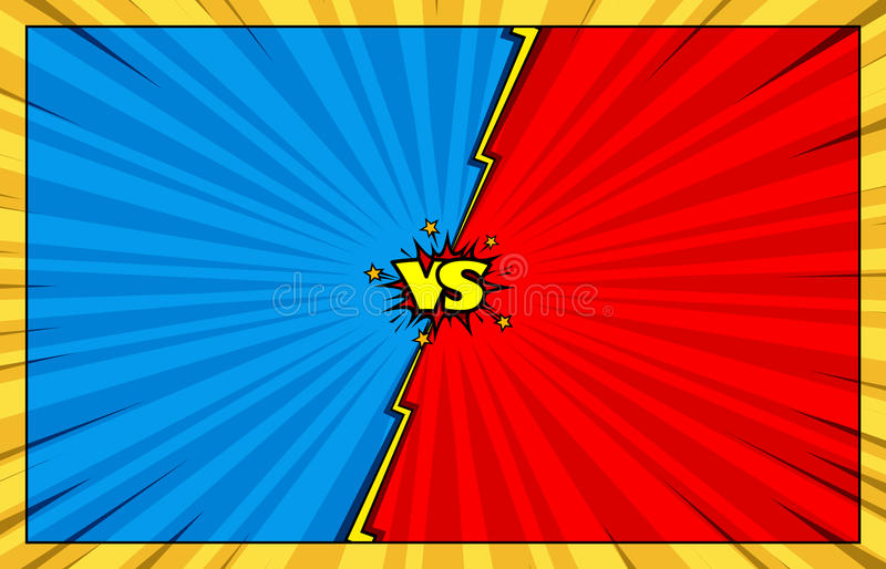 Comic book versus background with speech bubbles royalty free illustration