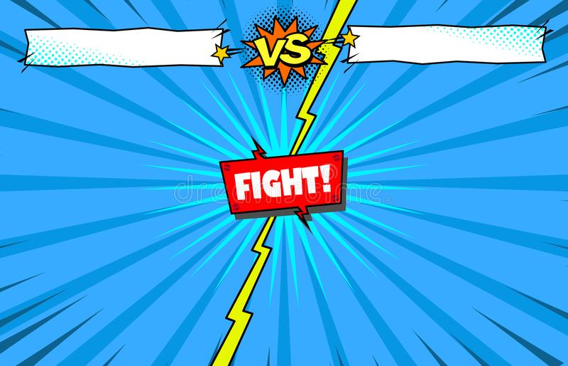 Comic book versus fight template background, superhero battle intro stock illustration