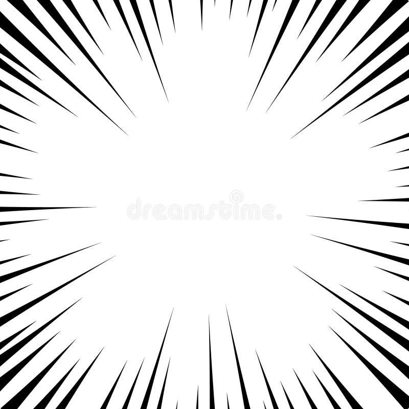 Comic book white and black radial lines background. Superhero action, explosion background, manga speed frame, vector illustration.  stock illustration