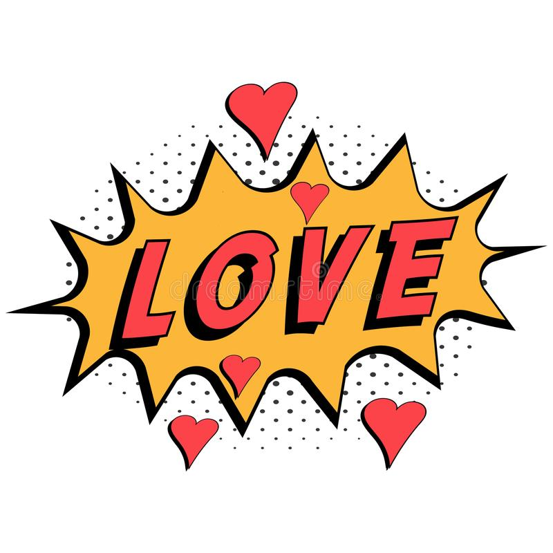 Comic book word love with hearts pop art style with halftone background, vector Comic speech bubble with expression text love stock illustration