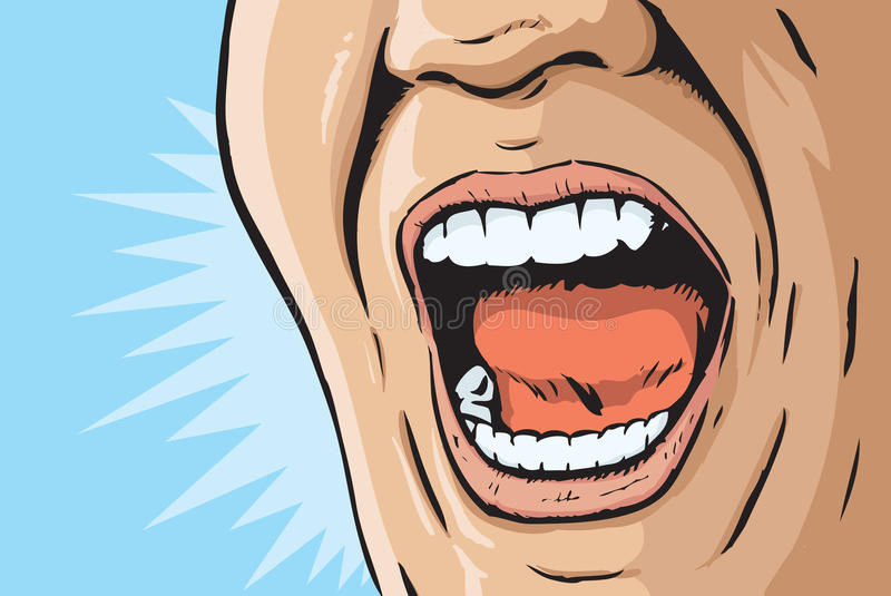 Comic book yelling mouth. Illustration of a mouth yelling stock illustration