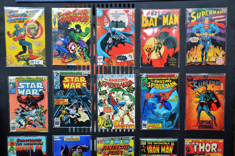 Comic Books of several Marvel Super-Heroes royalty free stock images