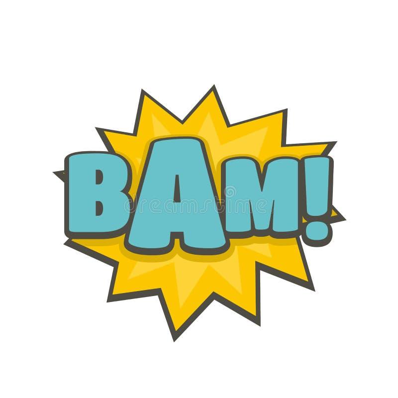 Comic boom bam icon, flat style royalty free illustration