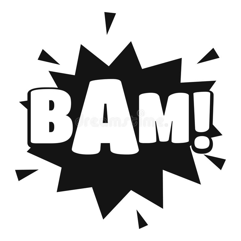 Comic boom bam icon, simple black style stock illustration