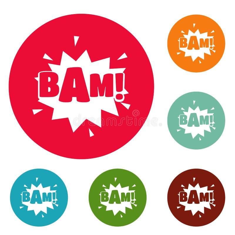 Comic boom bam icons circle set vector stock illustration