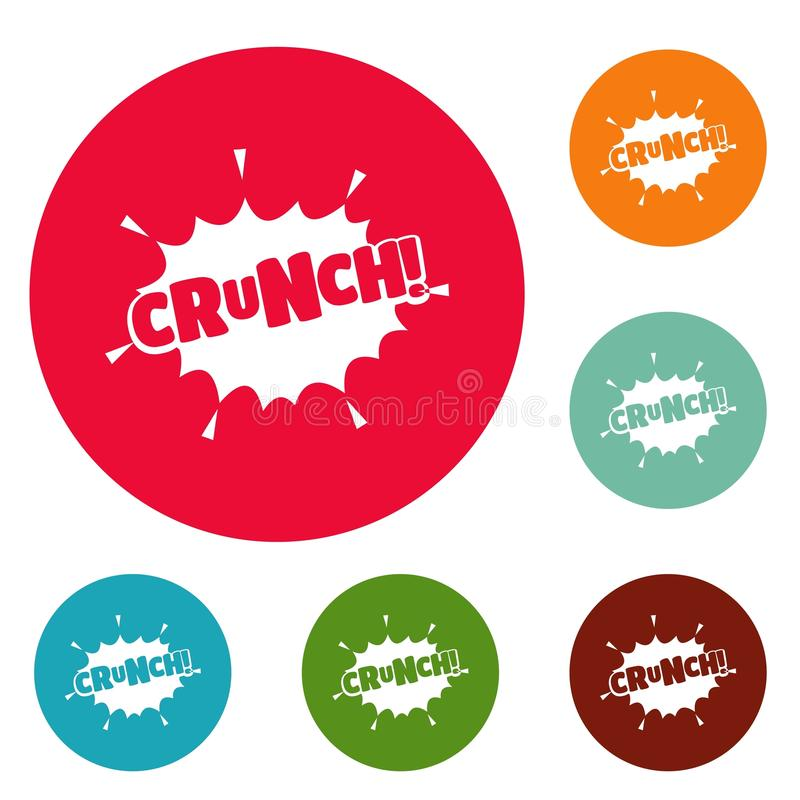 Comic boom crunch icons circle set vector. Isolated on white background royalty free illustration
