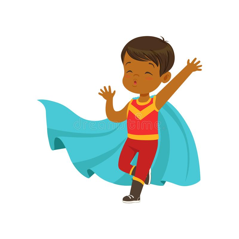 Comic brave kid in superhero red costume with mask and blue cape. Vector cartoon flat super boy character. Comic brave kid in superhero red costume with mask on vector illustration